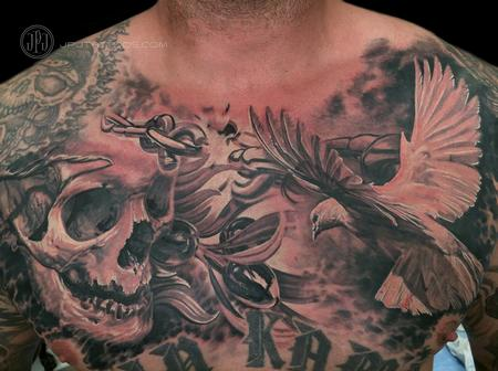Tattoos - Skull, Dove and Olive Branch - 116892
