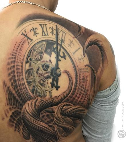 Tattoos - Clock and Trees in progress - 116569