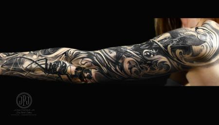 Tattoos - Black Widow & Nature Sleeve - 127898