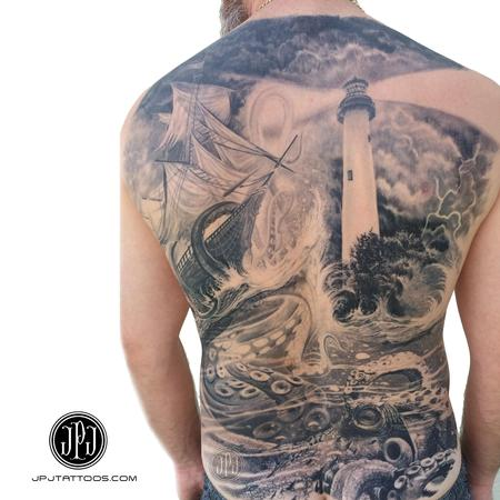 Tattoos - Nautical Back Piece Healed in Progress - 106321