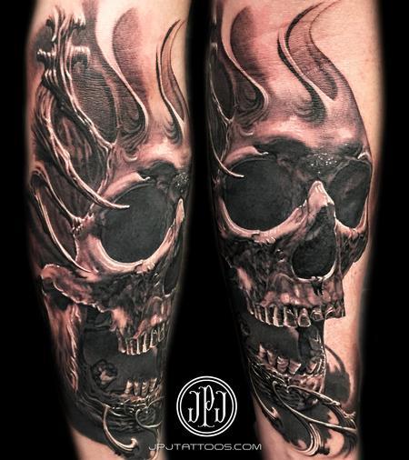 Skull and Texture Tattoo Design
