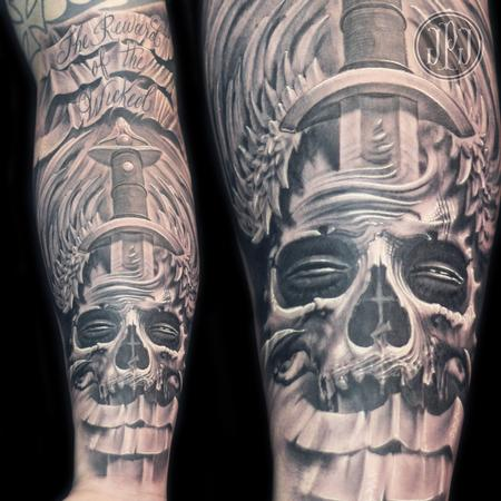 Tattoos - Freehand Skull, Dagger, and Wings - 99420