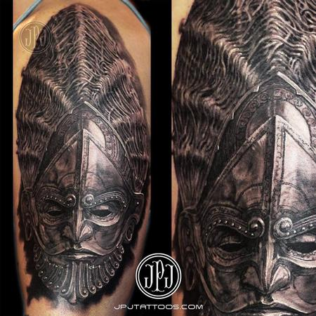 Ceremonial Metal Mask Tattoo Design Thumbnail