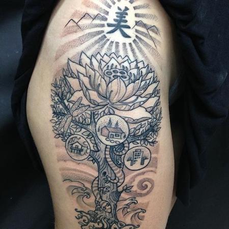 Tattoos - Blackwork Lotus - 132007
