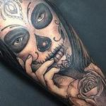 Black and grey day of the dead Tattoo Design Thumbnail