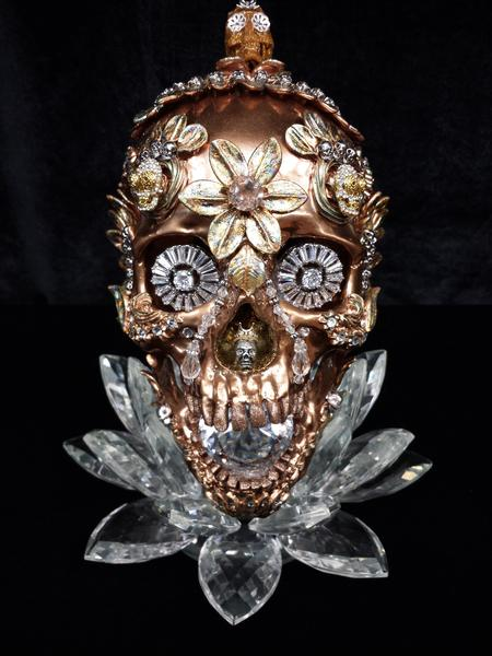 Tattoos - Bronze & Crystal Skull - 114585