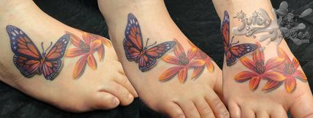Butterfly and Flowers Tattoo Design Thumbnail