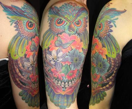 Tattoos - Colorful Owl - 112209