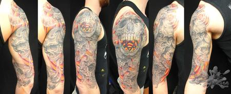 Skull Sleeve  Tattoo Design Thumbnail