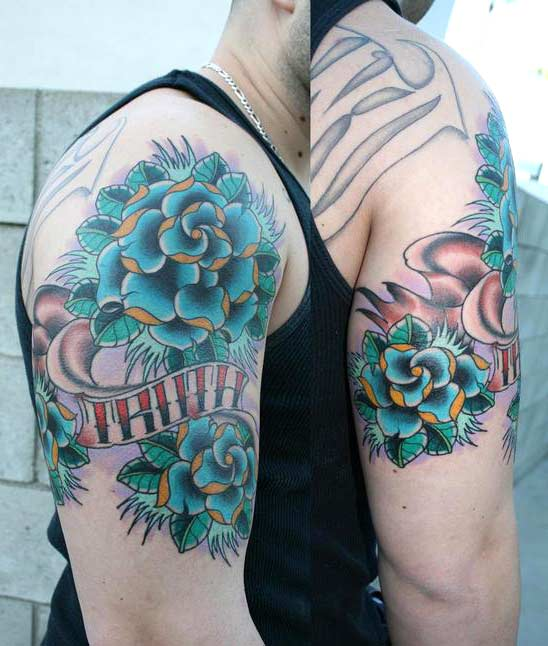 Traditional Blue Rose Tattoo by Julian Zeff: TattooNOW Traditional Blue Rose Tattoo