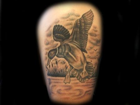 Justin Hicks - Black and Grey Duck Tattoo