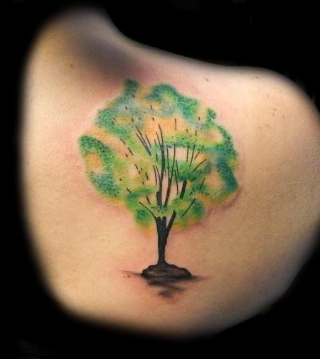 Tattoos - Watercolor Tree Tattoo - 88966