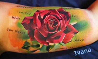 Tattoos - Rose with text - 72836