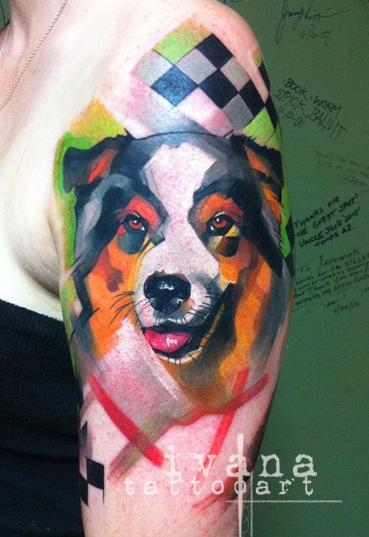 Dog Portrait with Funky background Tattoo Design Thumbnail