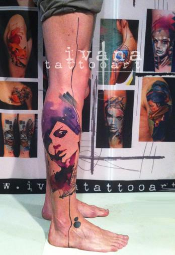 Watercolor Portrait of woman Tattoo Design Thumbnail