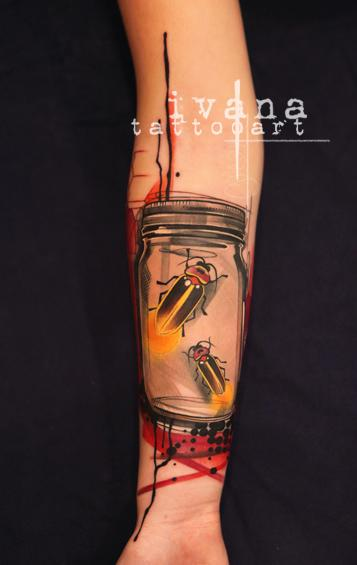 Fireflies in a Mason Jar Tattoo Design Thumbnail