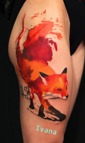 Red Fox and Number 13th  Tattoo Design Thumbnail