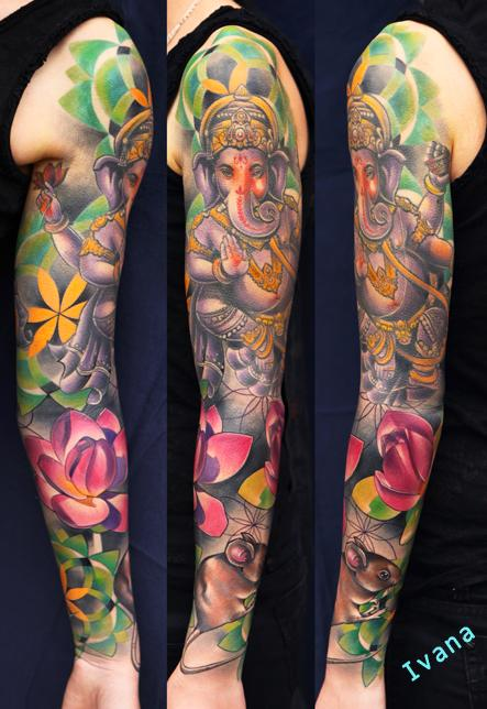 Ganesh & Lotuses & Mouse Dorotka Tattoo Design Thumbnail