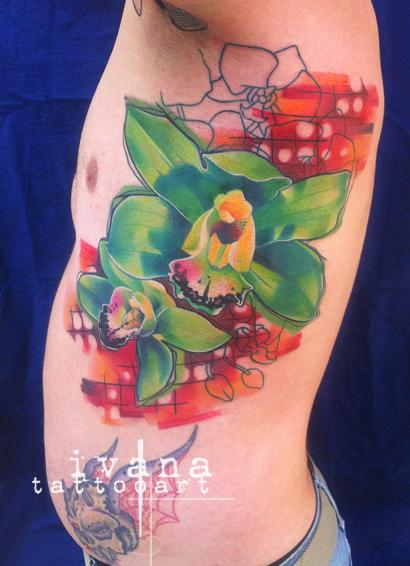 Green Orchids Tattoo Design Thumbnail