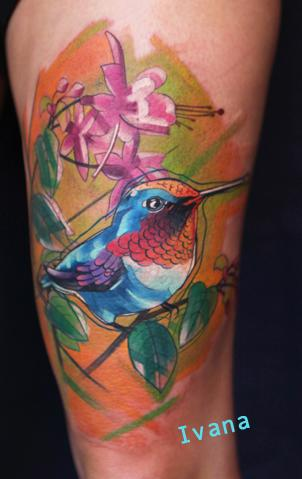 Hummingbird with flowers Tattoo Design Thumbnail