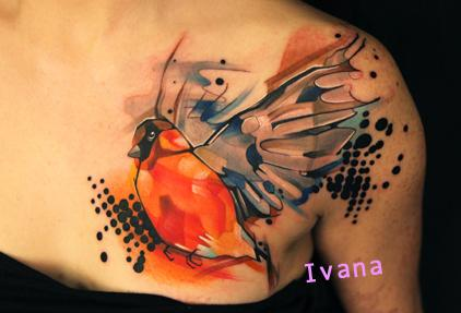 Bird.. watercolor Tattoo Design Thumbnail