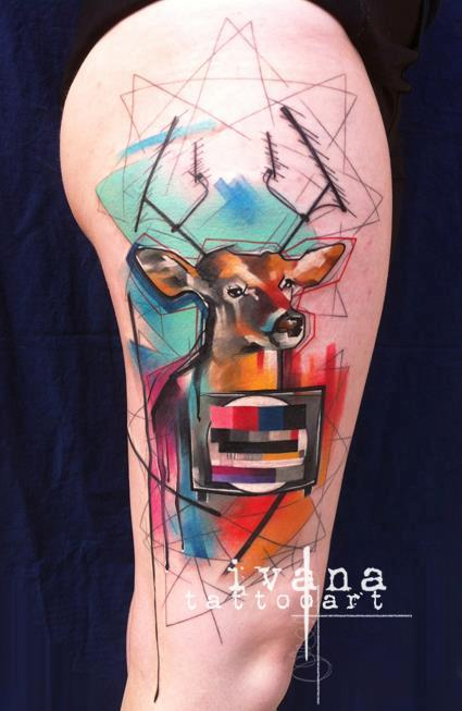 Tattoos - Deer and Funky TV Color Tattoo - 115234