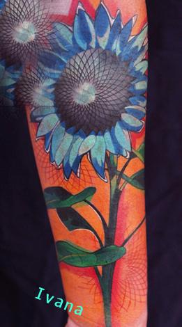 Blue Sunflower Tattoo Design Thumbnail