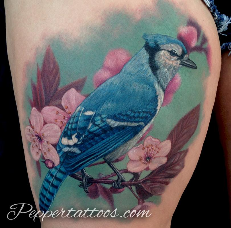 blue jay tattoo by pepper tattoos. Black Bedroom Furniture Sets. Home Design Ideas