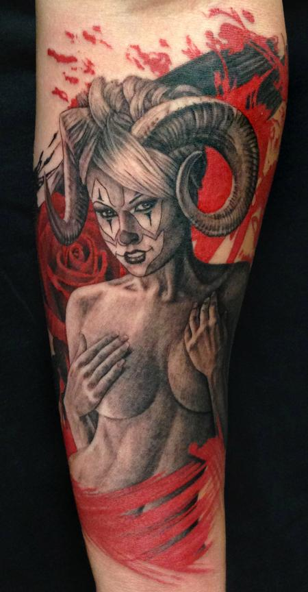 Tattoos - Girl with Ram Horns Tattoo - 97916
