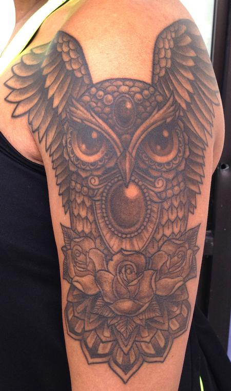 Tattoos - Owl with jewels - 89070