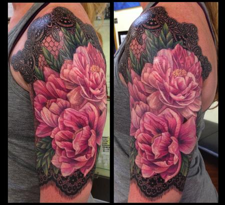 Tattoos - Peonies and lace - 80634