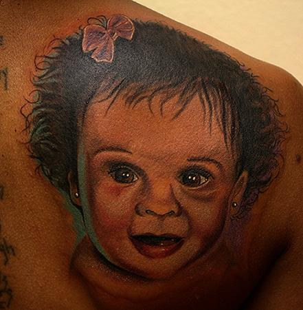 Baby portrait by daniel chashoudian tattoonow for Skin gallery tattoo