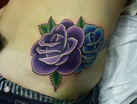 Tattoos - traditional rose tattoo - 71131