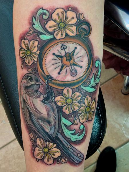 Chickadee and Pocketwatch Tattoo Design