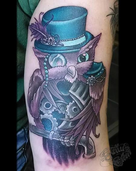 Tattoos - steampunk owl - 99649