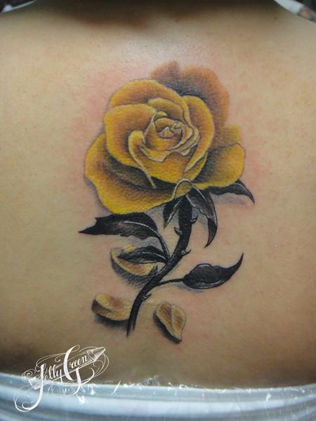 Yellow rose by kelly green tattoonow for Yellow rose tattoo