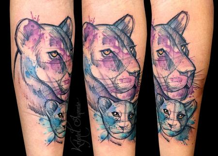 Tattoos - Lioness and her cub - 128451
