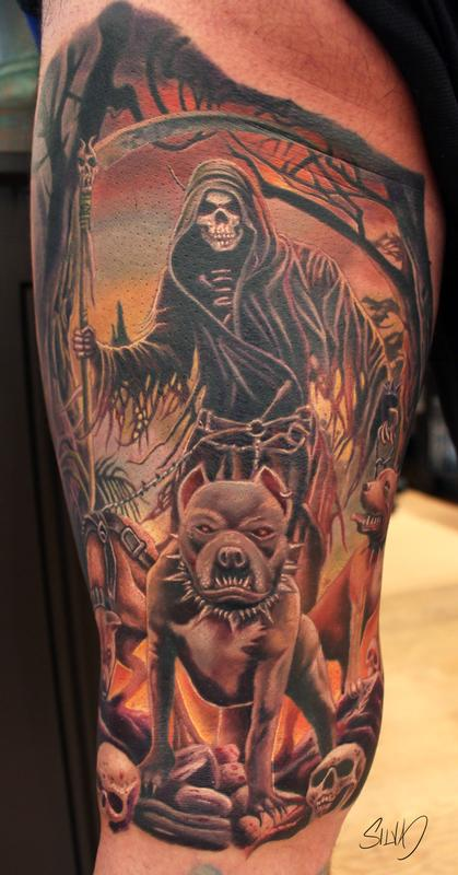 pitbulls and grim reaper tattoo by marvin silva tattoonow. Black Bedroom Furniture Sets. Home Design Ideas