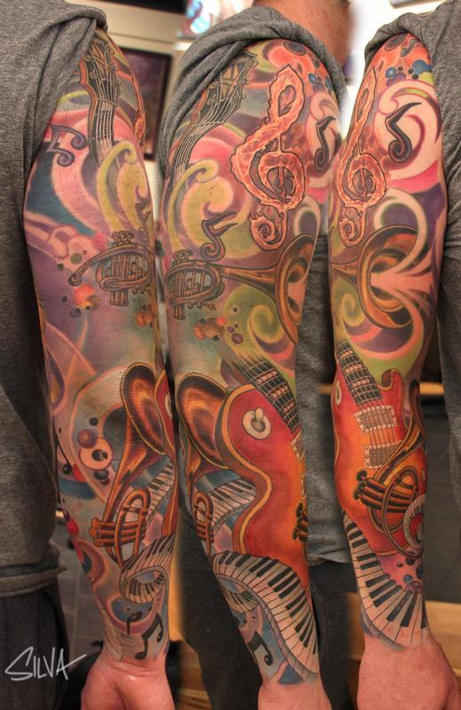 custom music sleeve tattoo by marvin silva tattoonow. Black Bedroom Furniture Sets. Home Design Ideas