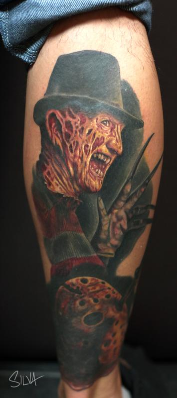 Freddy and jason tattoo by marvin silva tattoos for 13th floor tattoo shop