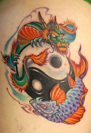 Marvin Silva - Dragon Koi Yin-Yang Tattoo