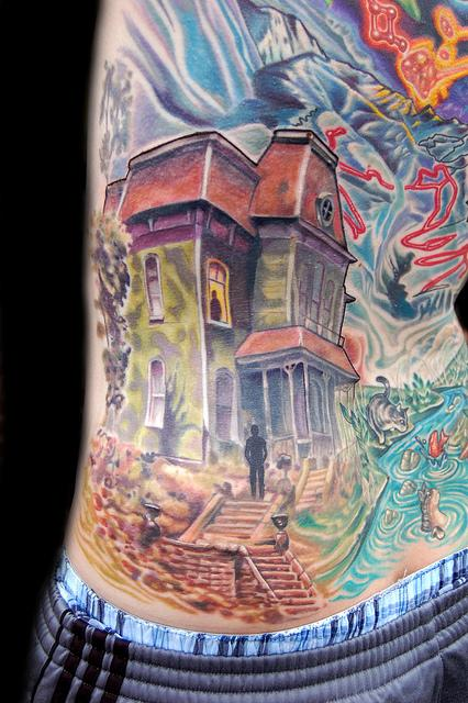 Art by marvin silva tattoos portrait psycho house tattoo for Tattoo shops in norman