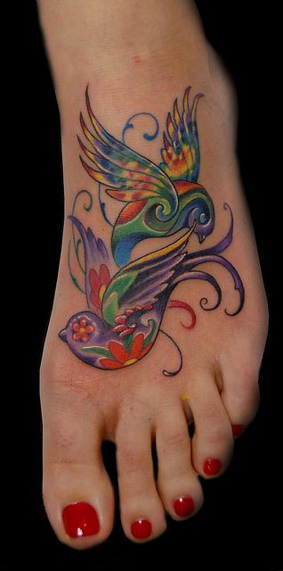 Marvin Silva - Colorful Birds Tattoo