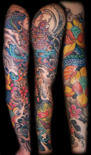 Japanese Theme Sleeve Tattoo Tattoo Design Thumbnail