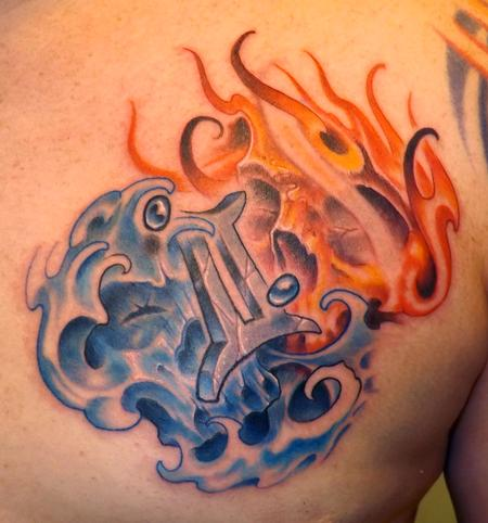 Marvin Silva - Custom Gemini, Skulls, Fire and Water Tattoo