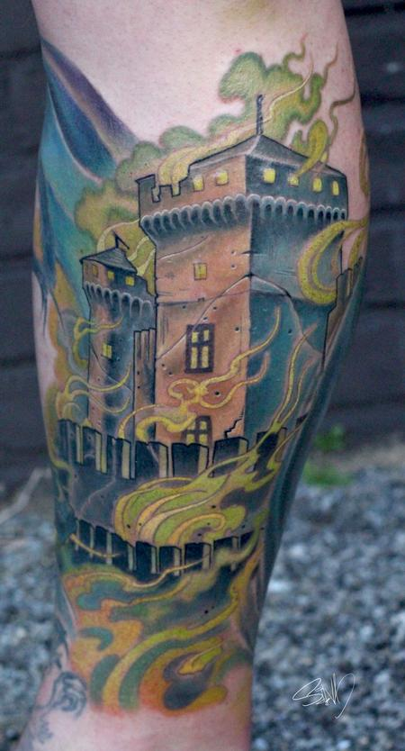 Tattoos - Burning Castle Tattoo - 95303