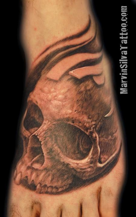 Tattoos - Black and Grey Skull Tattoo - 76463