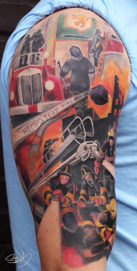 Tattoos - Fire Department Painting Tattoo - 98444