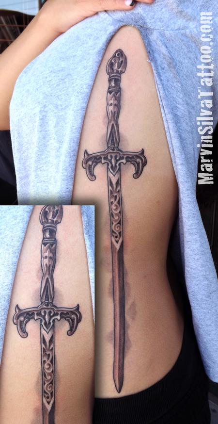 Tattoos - Ornate Medieval Sword Tattoo - 78039