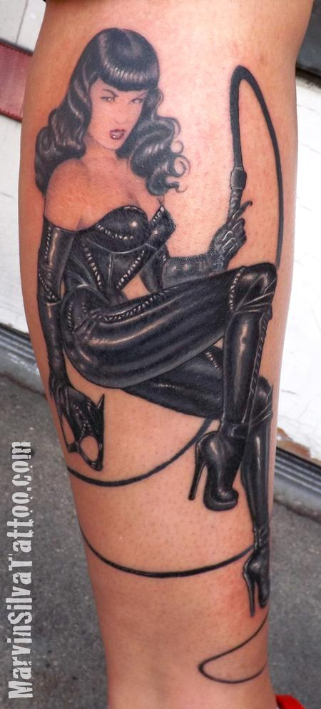 Tattoos - Betty Page Catwoman Tattoo - 78099